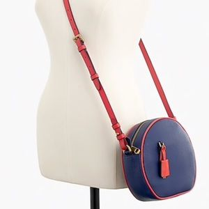 J Crew Navy red Signet circle bag in piped leather